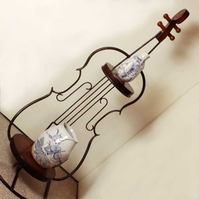 ヴィオラ 弦楽器 2段シェルフ 音楽雑貨 音楽グッズ