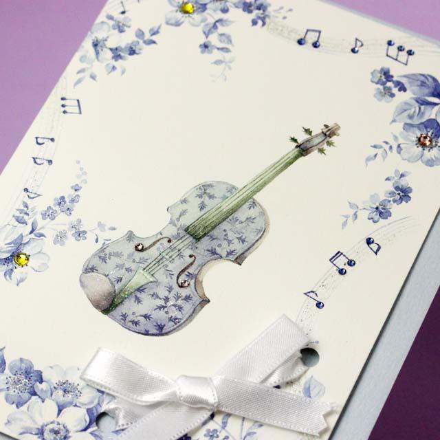 多目的カード Swarovski ブルーミュージック 音楽雑貨