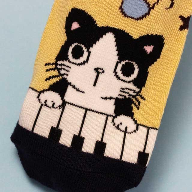 ピアノ鍵盤 靴下 ネコ 音楽グッズ 音楽雑貨