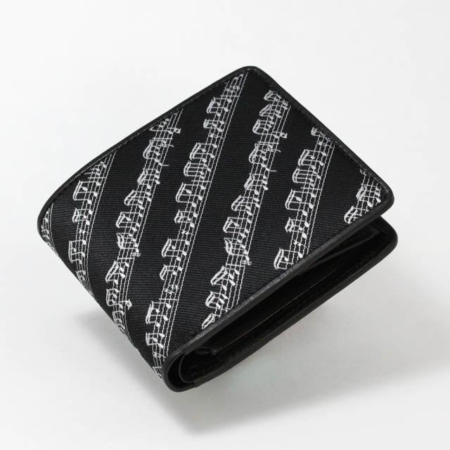 Leather Jacquard 二ツ折財布 楽譜 音楽雑貨 音楽ギフト