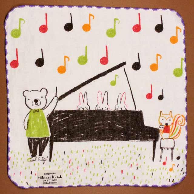 音楽雑貨 フェイスタオル ShinziKatoh パイル ガーゼ 無撚糸 ピアノ 楽器 音符