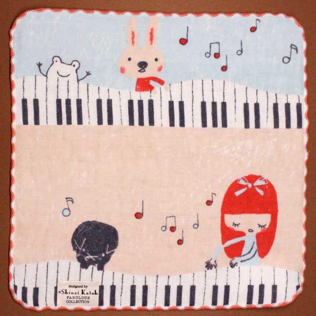 音楽雑貨 フェイスタオル ShinziKatoh パイル ガーゼ 無撚糸 鍵盤 楽器 音符
