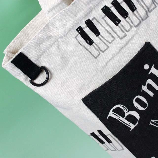 Bonjour Mie ポケット付きトート 音楽雑貨 ピアノ鍵盤