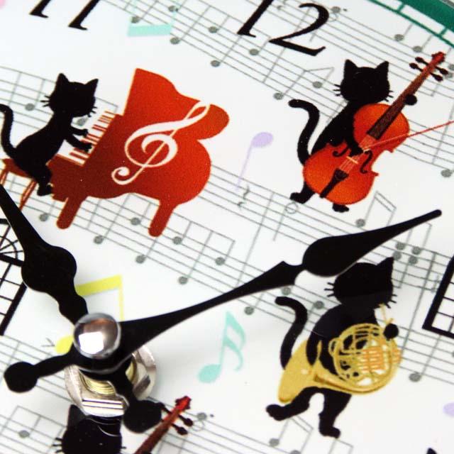 ガラス掛置時計 ピアノ ヴァイオリン ホルン トロンボーン 音楽雑貨 音楽グッズ