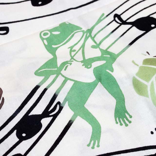 注染 手ぬぐい カエル 音楽雑貨