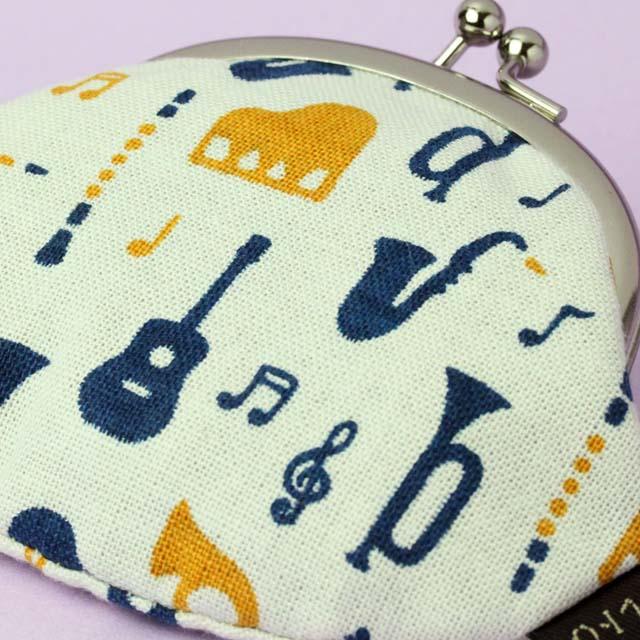 奏でるハーモニー がまぐちコインケース 音楽雑貨 楽器柄