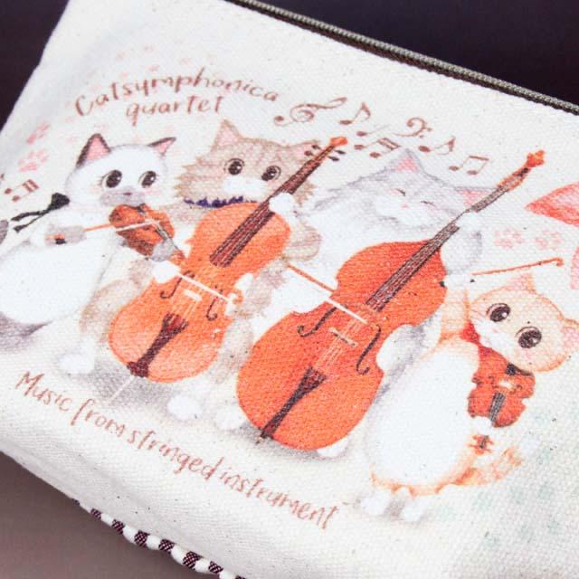 Cat Symphonica 弦楽カルテット 舟形ポーチ 音楽雑貨 音楽グッズ