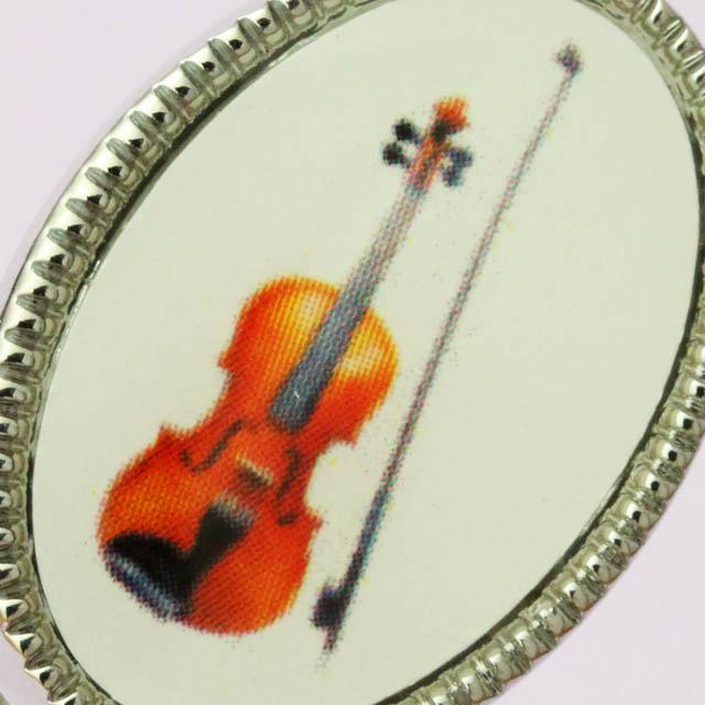 舶来 カフスボタン カメオ風 ヴァイオリン 音楽雑貨
