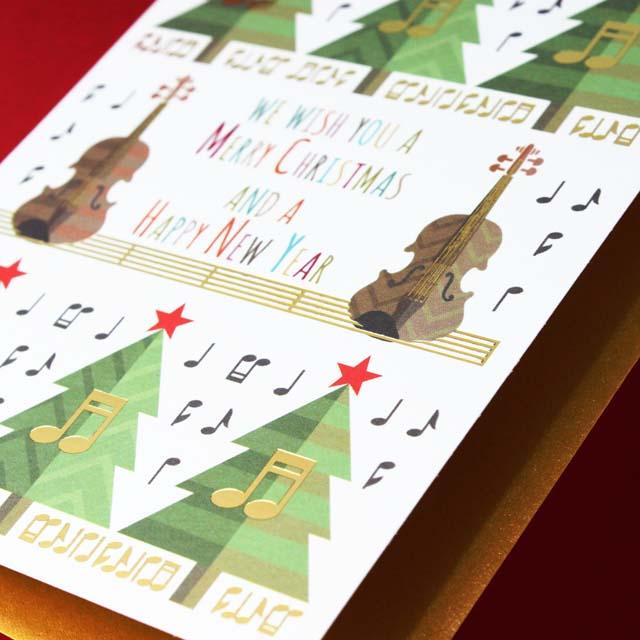 クリスマスカード ヴァイオリン 音楽雑貨