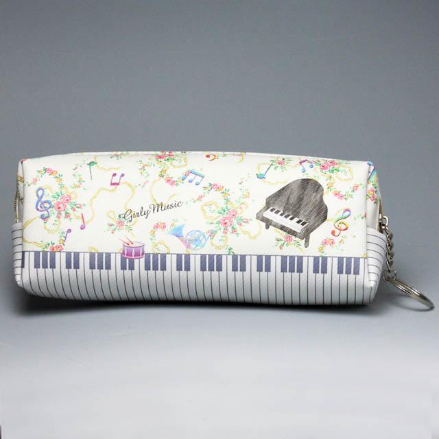 スクエア ペンポーチ グランドピアノと花柄 音楽雑貨 音楽グッズ