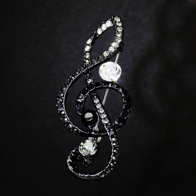 玻璃ブローチ ト音記号 音楽雑貨 音楽アクセサリー