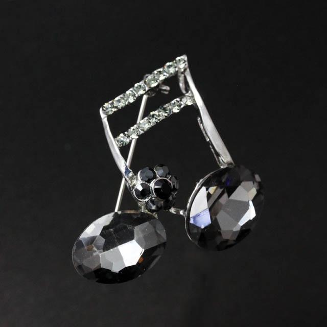 玻璃ブローチ 2連16分音符 音楽雑貨 音楽アクセサリー