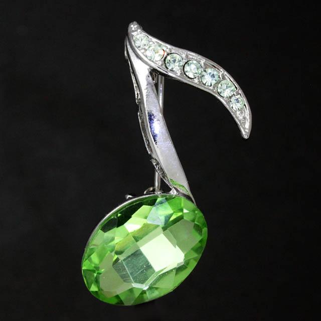 玻璃ブローチ 8分音符 音楽雑貨 音楽アクセサリー