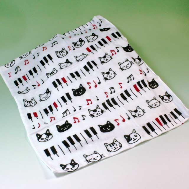 ハンドタオル てぬぐいハンカチ 鍵盤 音楽雑貨 音楽グッズ