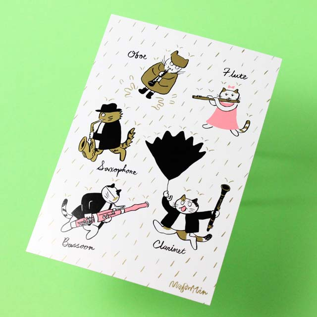 Classic Cat 絵葉書 ポストカード 春の雨 木管楽器 音楽雑貨 音楽グッズ