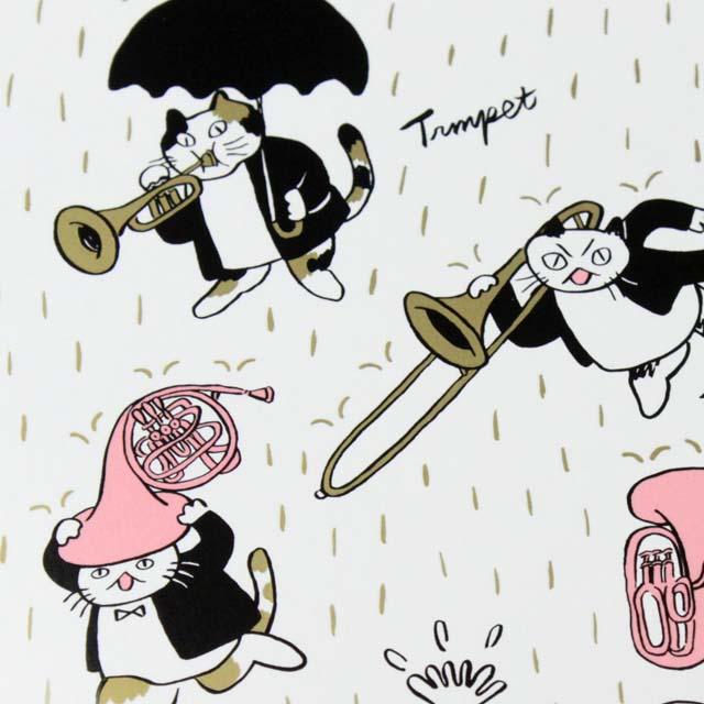 Classic Cat 絵葉書 ポストカード 春の雨 金管楽器 音楽雑貨 音楽グッズ