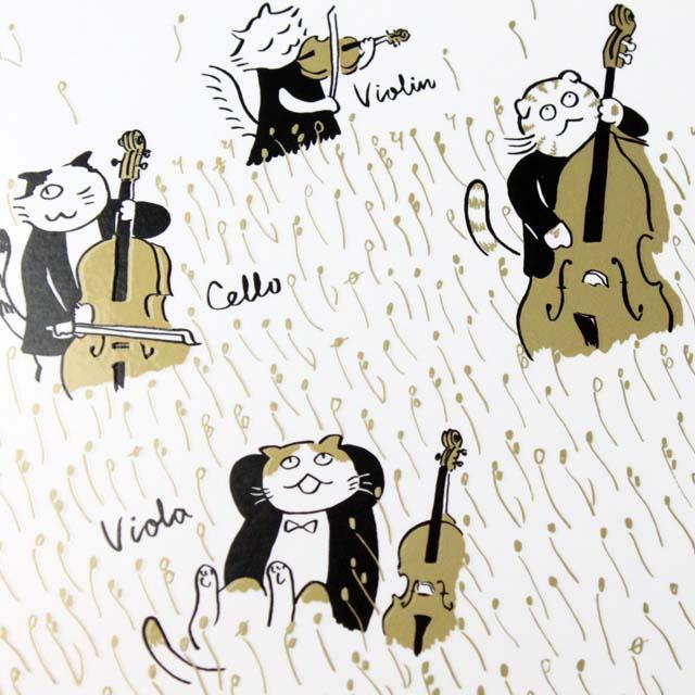 Classic Cat 絵葉書 ポストカード 恵みの秋 弦楽器 音楽雑貨 音楽グッズ