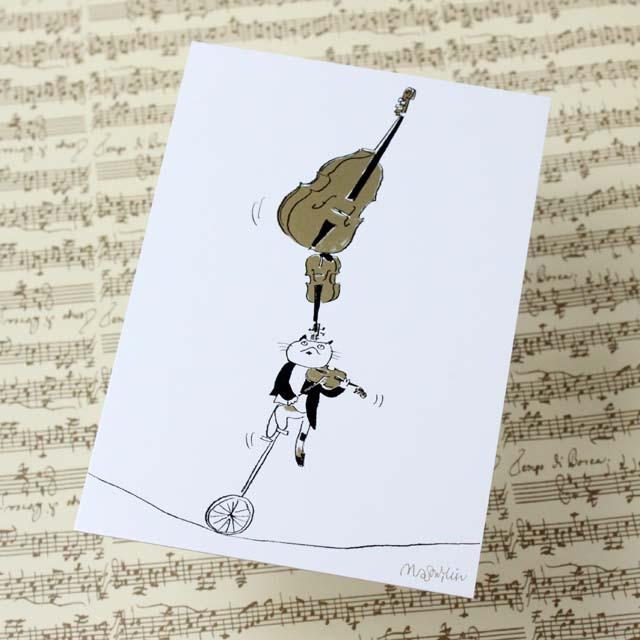 Musical Circus 絵葉書 ポストカード バランス一輪車 音楽雑貨 音楽グッズ