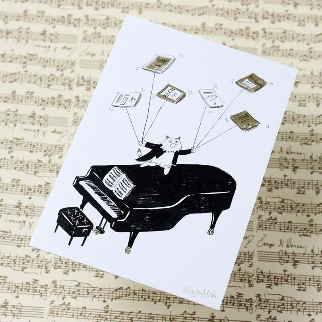 Musical Circus 絵葉書 ポストカード 楽譜回し 音楽雑貨 音楽グッズ