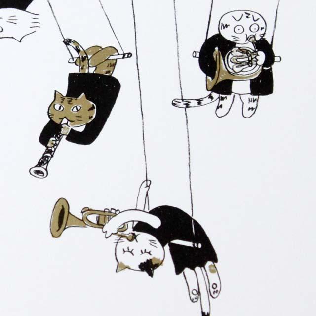 Musical Circus 絵葉書 ポストカード 空中ブランコ 音楽雑貨 音楽グッズ