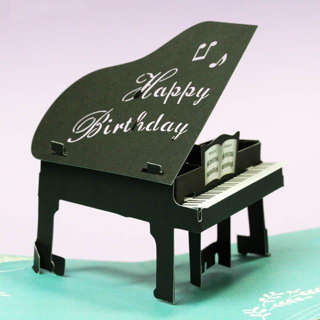 誕生カード グランドピアノ ポップアップ 音楽雑貨