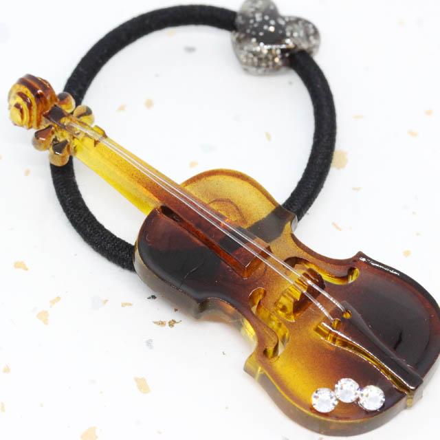鼈甲風 ヘアゴム ヴァイオリン 音楽雑貨