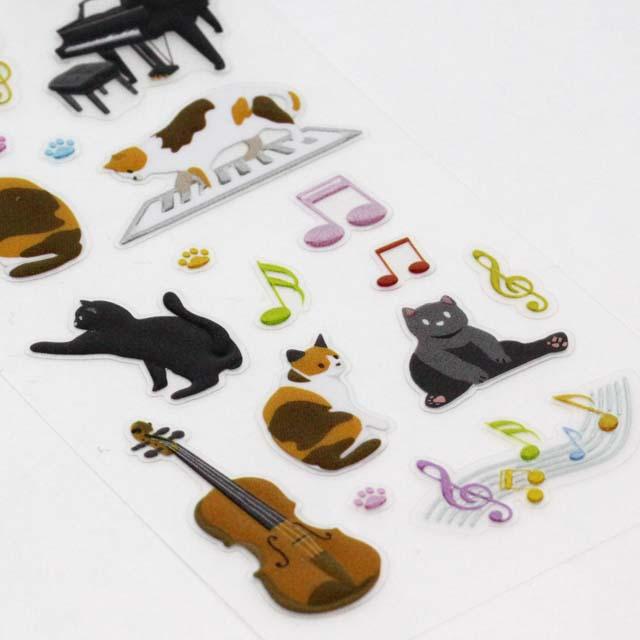ビジュ・ステッカー 音楽と猫 音楽雑貨