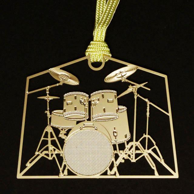 ドラムセット Drumset きんのしおり 純金メッキ栞 音楽雑貨 音楽グッズ