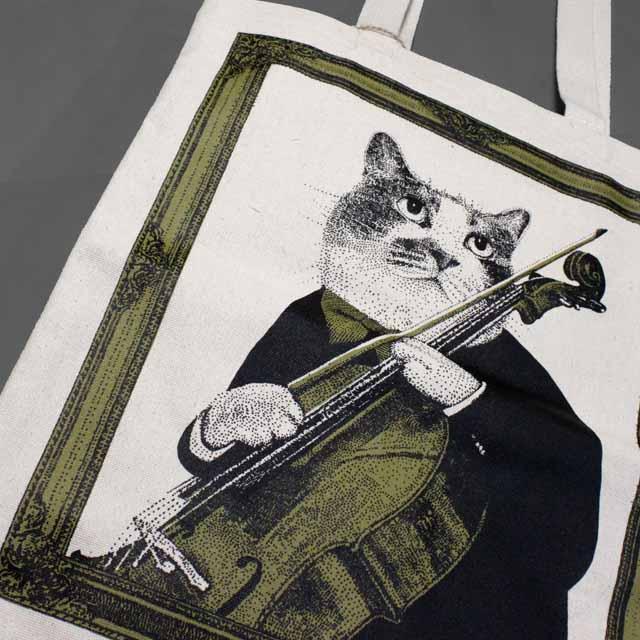 チェロ Violoncello 厚手コットンキャンバス トート 音楽雑貨