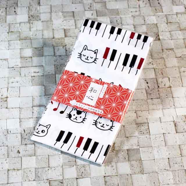 てぬぐい 音符 鍵盤 ねこ 音楽雑貨 音楽グッズ