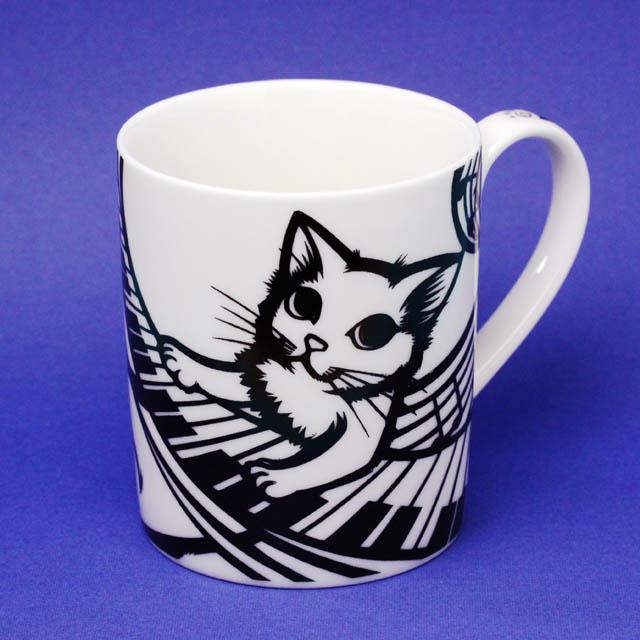 Cut Cat Cafe マグカップ ピアノ鍵盤 白猫 音楽雑貨