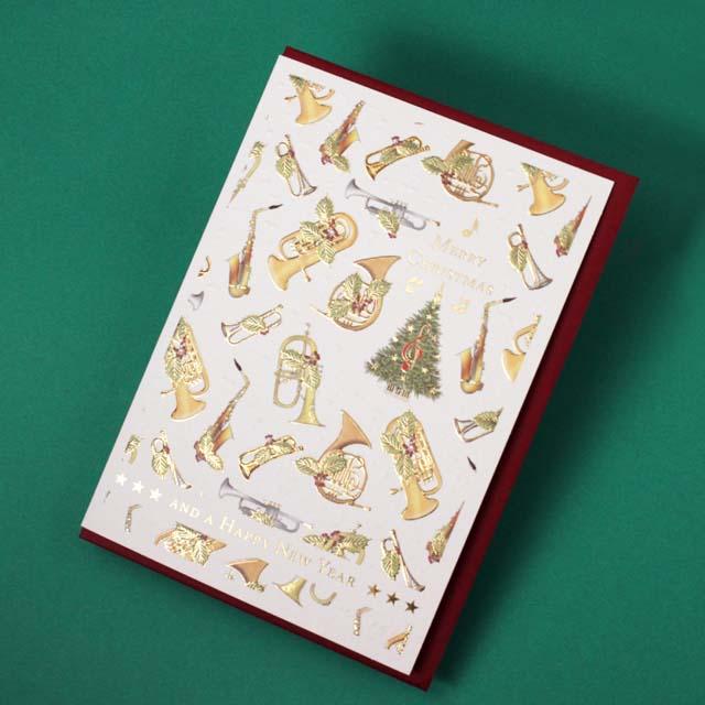 クリスマスカード ツリー トランペット ホルン アルトサックス フリューゲルホルン 音楽雑貨