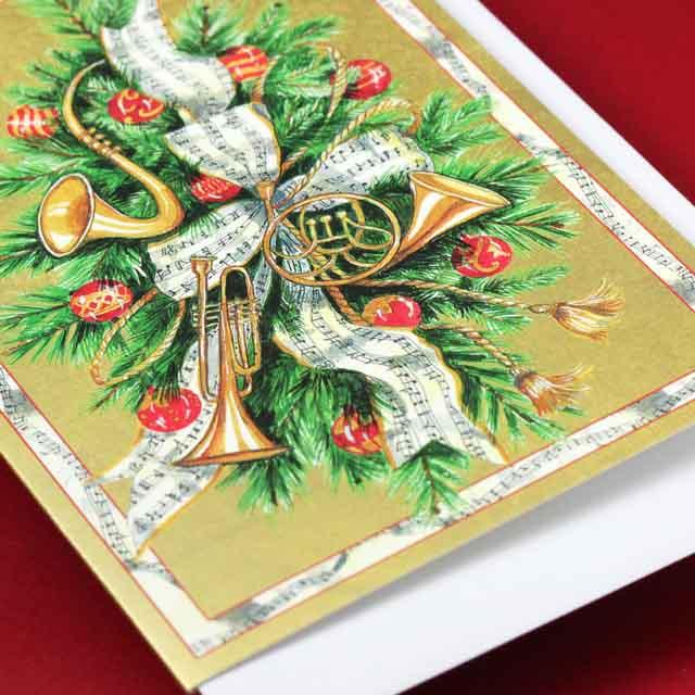 クリスマスカード リース サックス ホルン トランペット 音楽雑貨