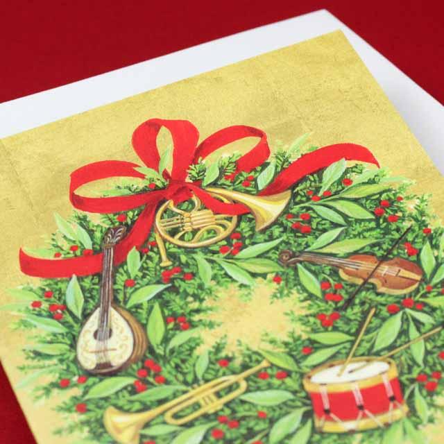 クリスマスカード リース マンドリン ヴァイオリン ドラム ホルン トランペット 音楽雑貨