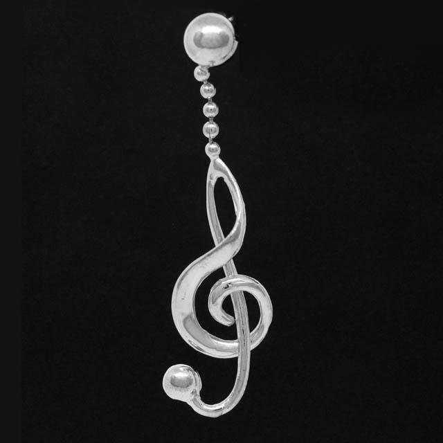 ト音記号 G_clef シルバー ピアス SV925 音楽雑貨 音楽アクセサリー