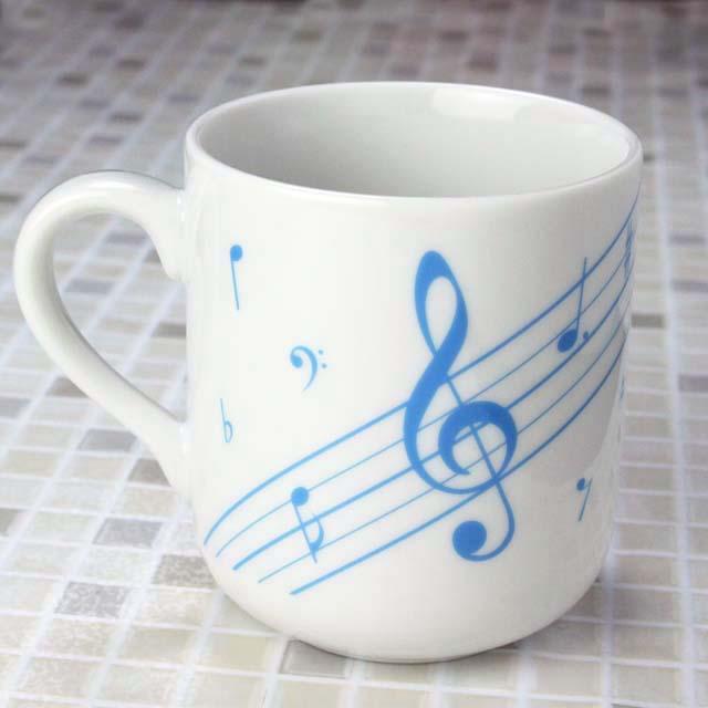 ト音記号と鍵盤てるてる某坊主 音楽雑貨 マグカップ ピアノ