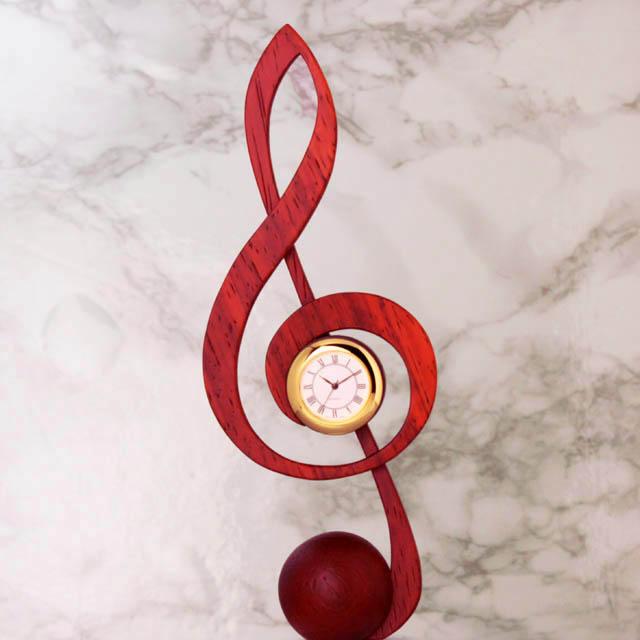 ト音記号 G_Clef 置時計 銘木 音楽雑貨