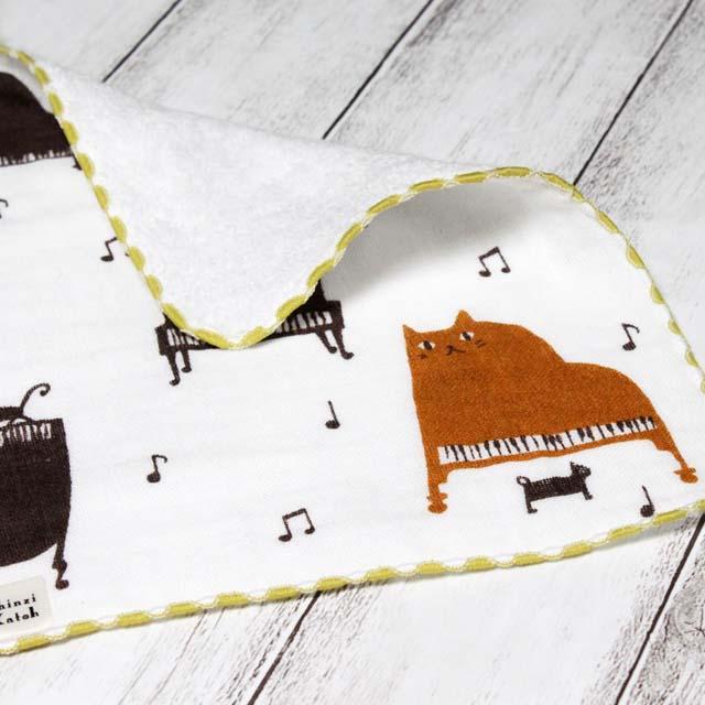猫ピアノ ShinziKatoh タオルハンカチ 音楽雑貨 音楽小物