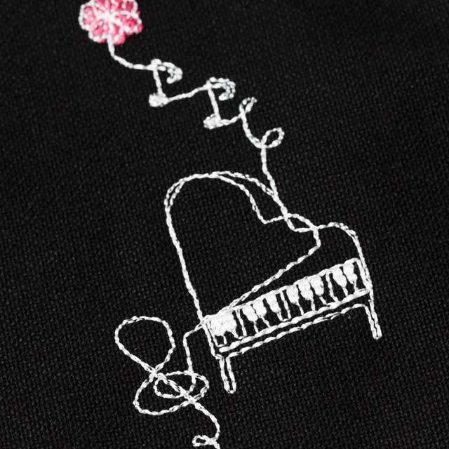 グランドピアノ マルチポーチ スケッチ刺繍 音楽雑貨